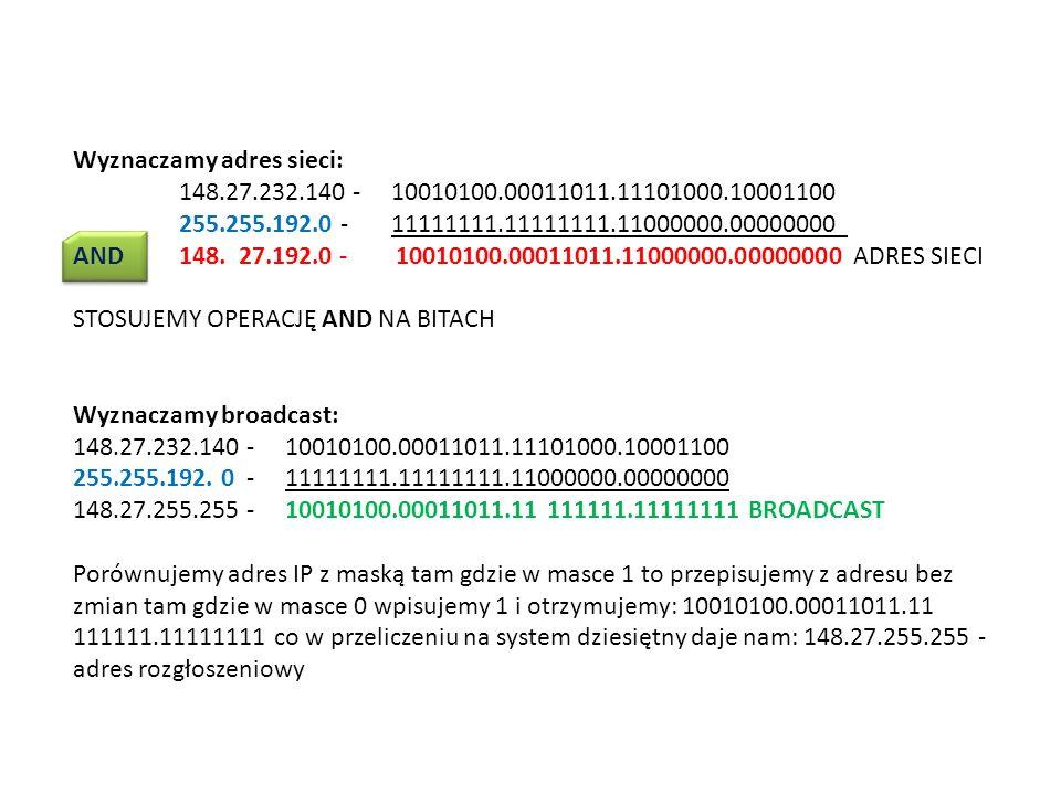 Wyznaczamy adres sieci: 148.27.232.140 - 10010100.00011011.11101000.10001100 255.255.192.0 - 11111111.11111111.11000000.00000000 AND 148. 27.192.0 - 1