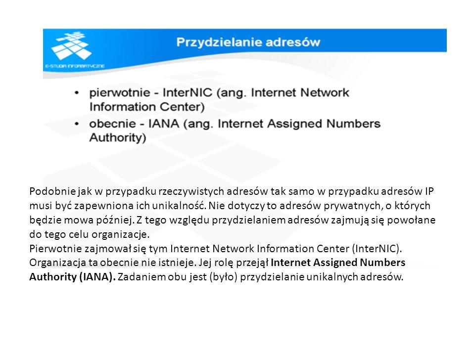 Podobnie jak w przypadku rzeczywistych adresów tak samo w przypadku adresów IP musi być zapewniona ich unikalność. Nie dotyczy to adresów prywatnych,