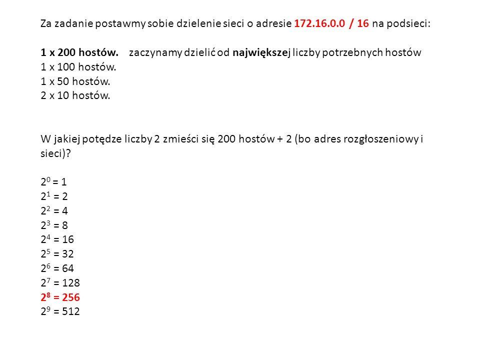 Za zadanie postawmy sobie dzielenie sieci o adresie 172.16.0.0 / 16 na podsieci: 1 x 200 hostów. zaczynamy dzielić od największej liczby potrzebnych h