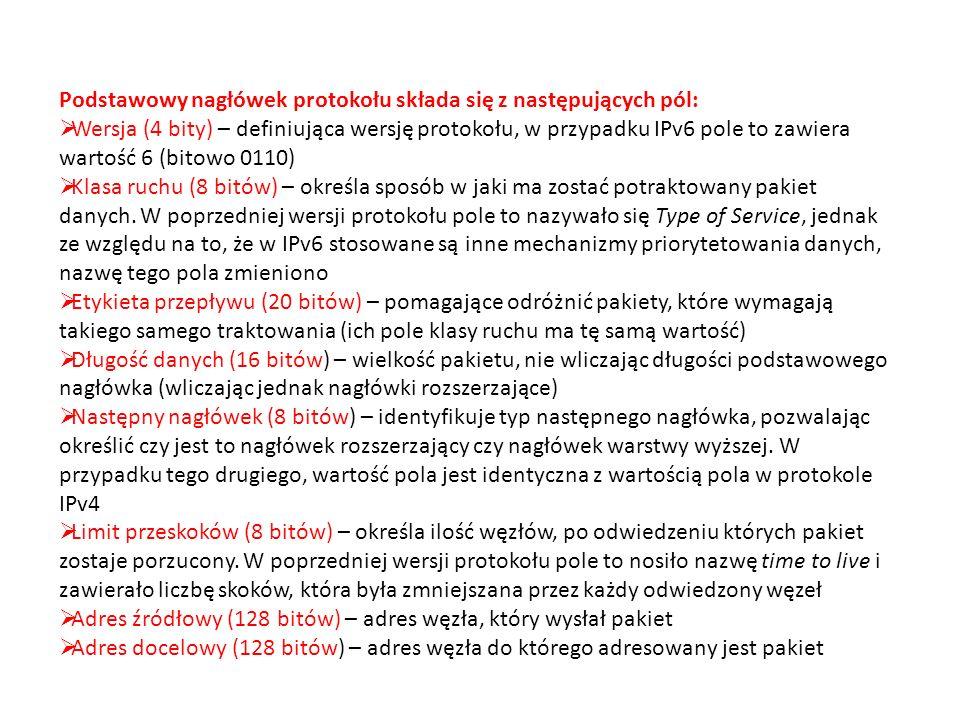 Podstawowy nagłówek protokołu składa się z następujących pól: Wersja (4 bity) – definiująca wersję protokołu, w przypadku IPv6 pole to zawiera wartość 6 (bitowo 0110) Klasa ruchu (8 bitów) – określa sposób w jaki ma zostać potraktowany pakiet danych.
