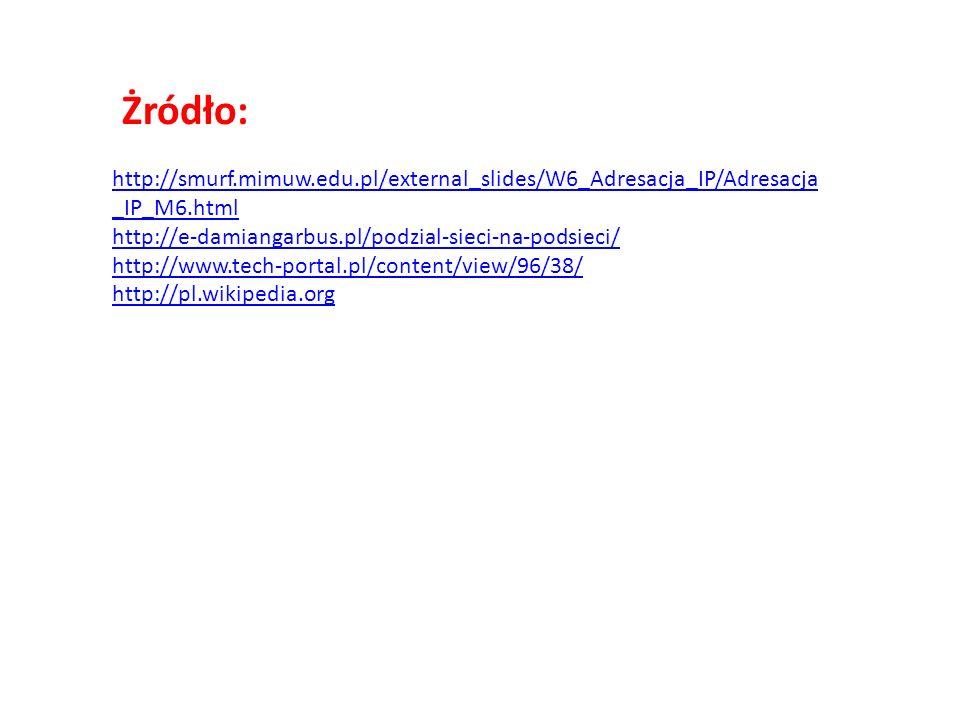 Żródło: http://smurf.mimuw.edu.pl/external_slides/W6_Adresacja_IP/Adresacja _IP_M6.html http://e-damiangarbus.pl/podzial-sieci-na-podsieci/ http://www