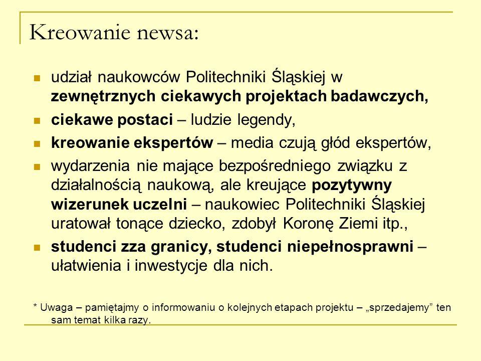Kreowanie newsa: udział naukowców Politechniki Śląskiej w zewnętrznych ciekawych projektach badawczych, ciekawe postaci – ludzie legendy, kreowanie ek