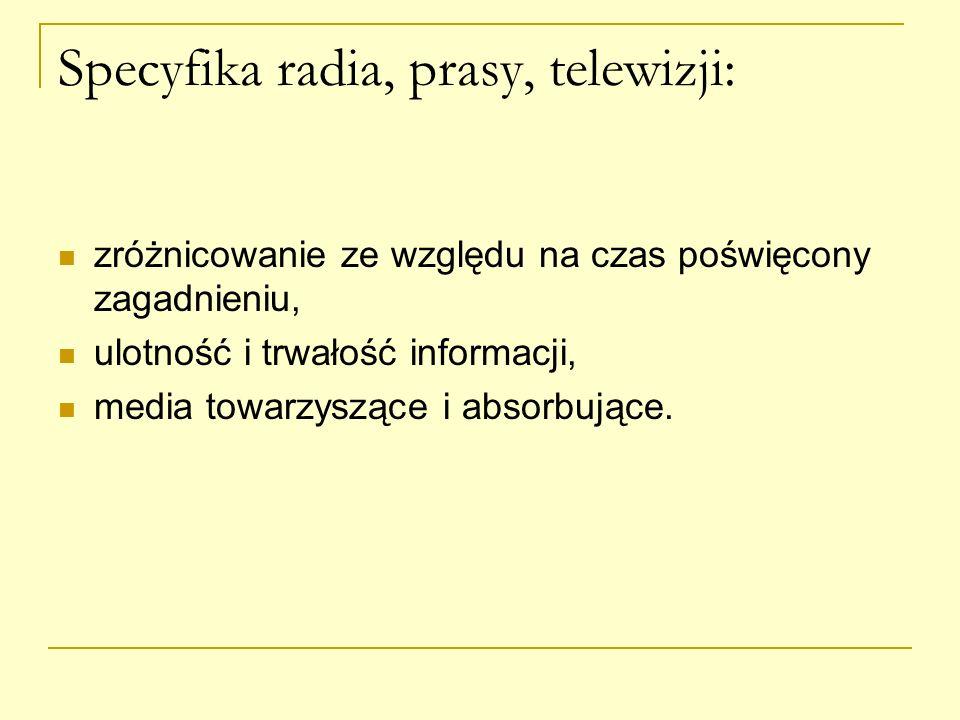 Specyfika radia, prasy, telewizji: zróżnicowanie ze względu na czas poświęcony zagadnieniu, ulotność i trwałość informacji, media towarzyszące i absor