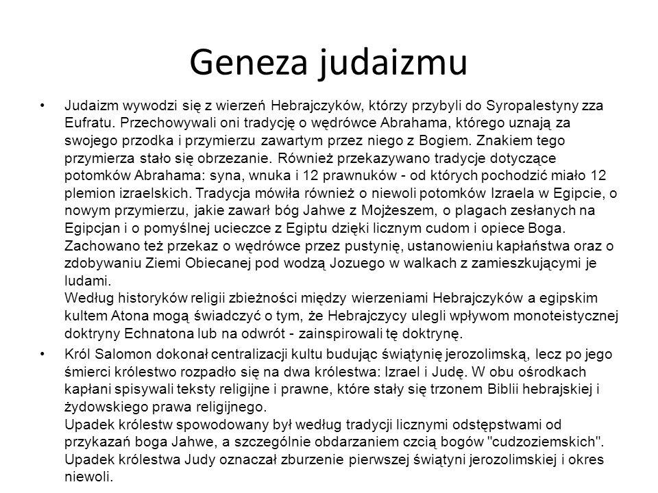 Geneza judaizmu Judaizm wywodzi się z wierzeń Hebrajczyków, którzy przybyli do Syropalestyny zza Eufratu.