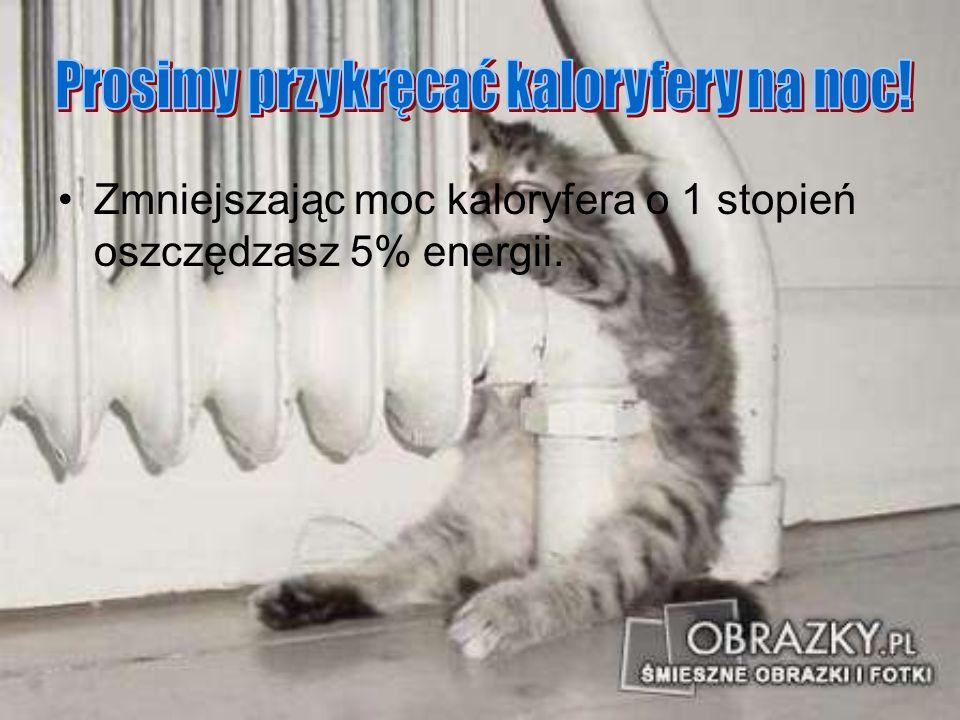 Zmniejszając moc kaloryfera o 1 stopień oszczędzasz 5% energii.