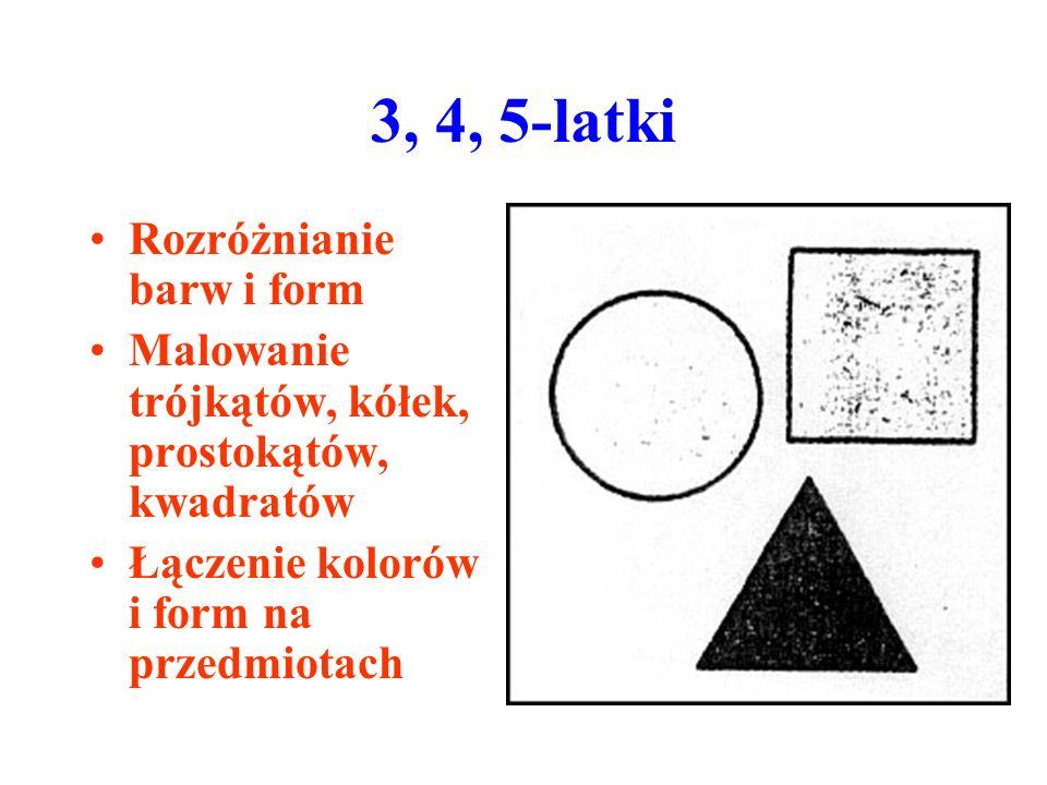 3, 4, 5-latki Rozróżnianie barw i form Malowanie trójkątów, kółek, prostokątów, kwadratów Łączenie kolorów i form na przedmiotach