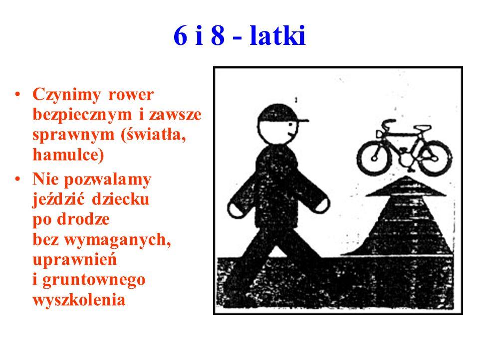 6 i 8 - latki Czynimy rower bezpiecznym i zawsze sprawnym (światła, hamulce) Nie pozwalamy jeździć dziecku po drodze bez wymaganych, uprawnień i grunt