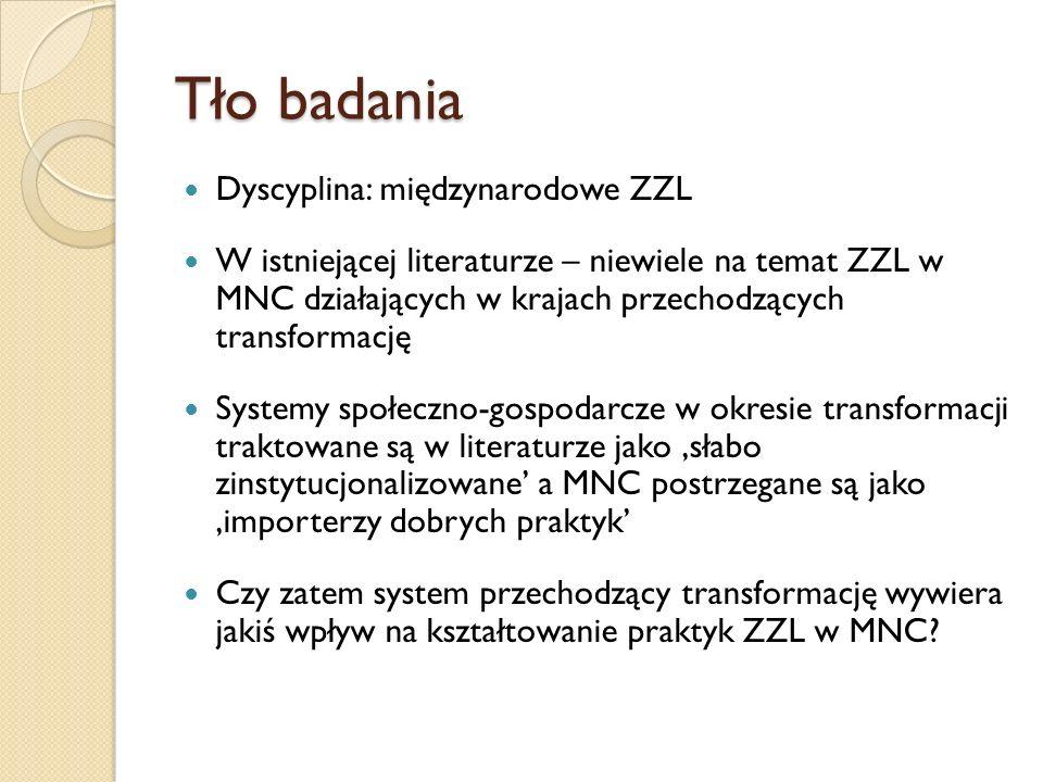 Pytania badawcze W jaki sposób MNCs pochodzące z zachodnich dojrzałych systemów społeczno-gospodarczych kształtują swoje praktyki ZZL w Polsce.