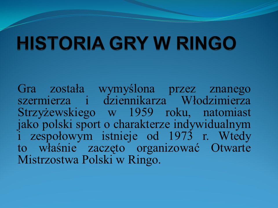 Ringo– to polska gra sportowa, która polega na rzucaniu gumowym kółkiem tak, aby upadło na boisku drużyny przeciwnej.