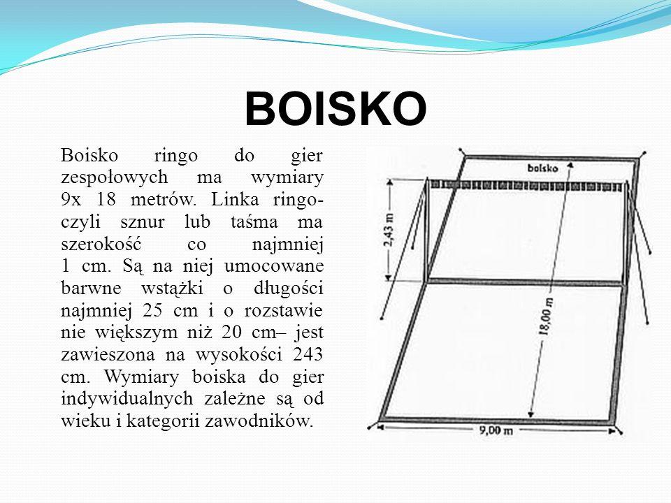 Kółko ringo, według wzoru Włodzimierza Strzyżewskiego, waży 160-165 gramów, z otworem dekompresyjnym i ryflowaniem górnej i dolnej powierzchni, ma śre
