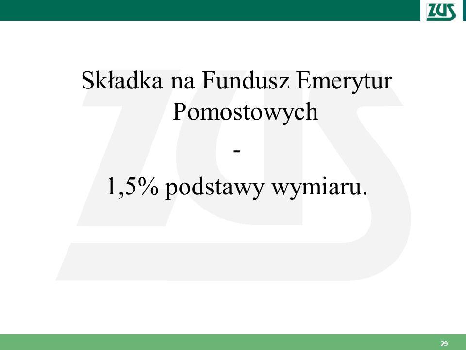 29 Składka na Fundusz Emerytur Pomostowych - 1,5% podstawy wymiaru.