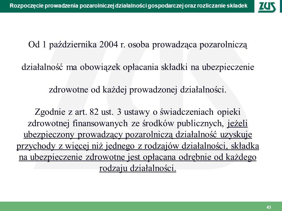 43 Rozpoczęcie prowadzenia pozarolniczej działalności gospodarczej oraz rozliczanie składek Od 1 października 2004 r. osoba prowadząca pozarolniczą dz