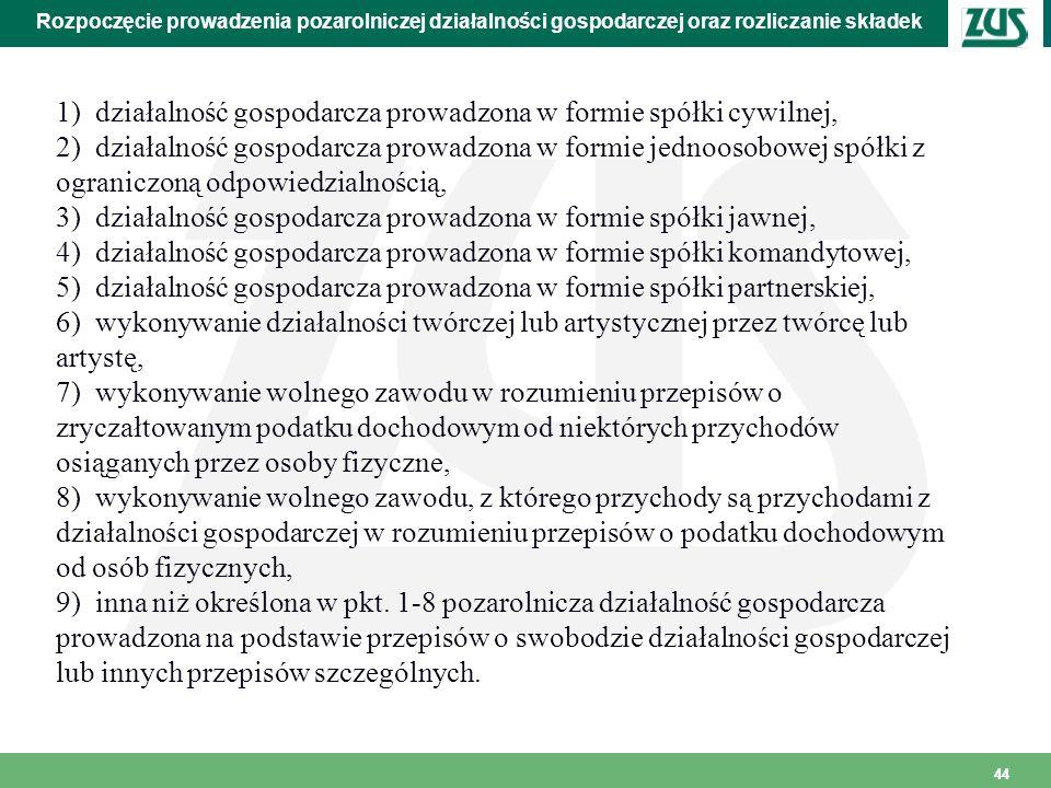 44 Rozpoczęcie prowadzenia pozarolniczej działalności gospodarczej oraz rozliczanie składek 1) działalność gospodarcza prowadzona w formie spółki cywi