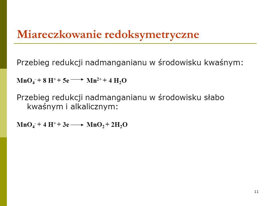 11 Przebieg redukcji nadmanganianu w środowisku kwaśnym: MnO 4 - + 8 H + + 5e Mn 2+ + 4 H 2 O Przebieg redukcji nadmanganianu w środowisku słabo kwaśn