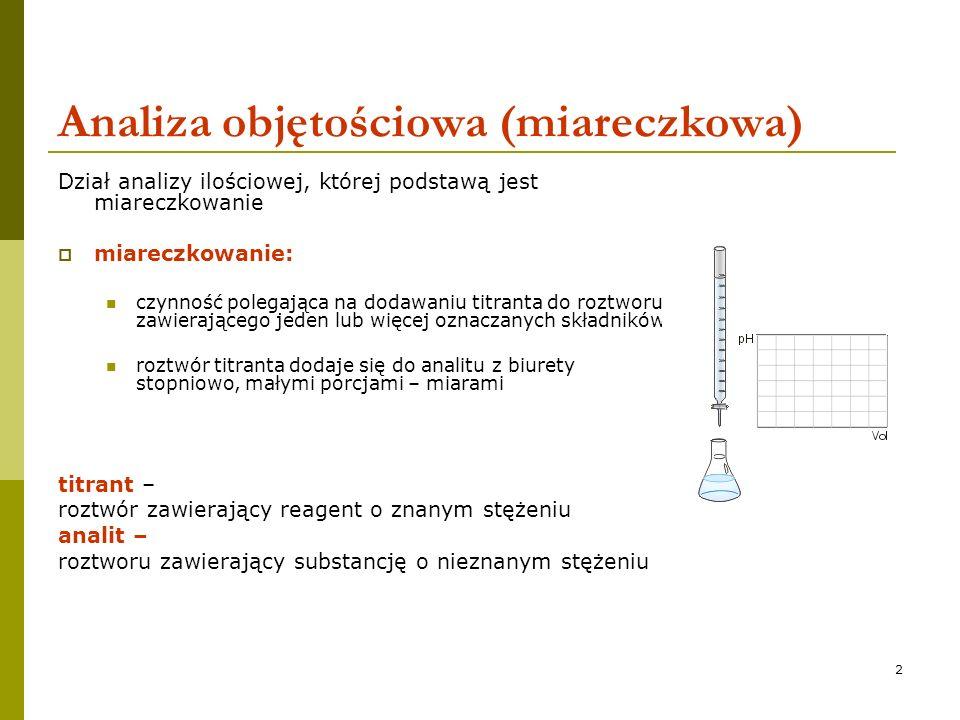 3 Analiza objętościowa (miareczkowa) miareczkowanie stechiometryczny przebieg reakcji osiągnięcie momentu, w którym ilość dodawanego odczynnika do roztworu będzie chemicznie równoważna ilości substancji badanej wyznaczenie objętości odczynnika potrzebnej do osiągnięcia tego punktu obliczenie stężenia roztworu miareczkowanego