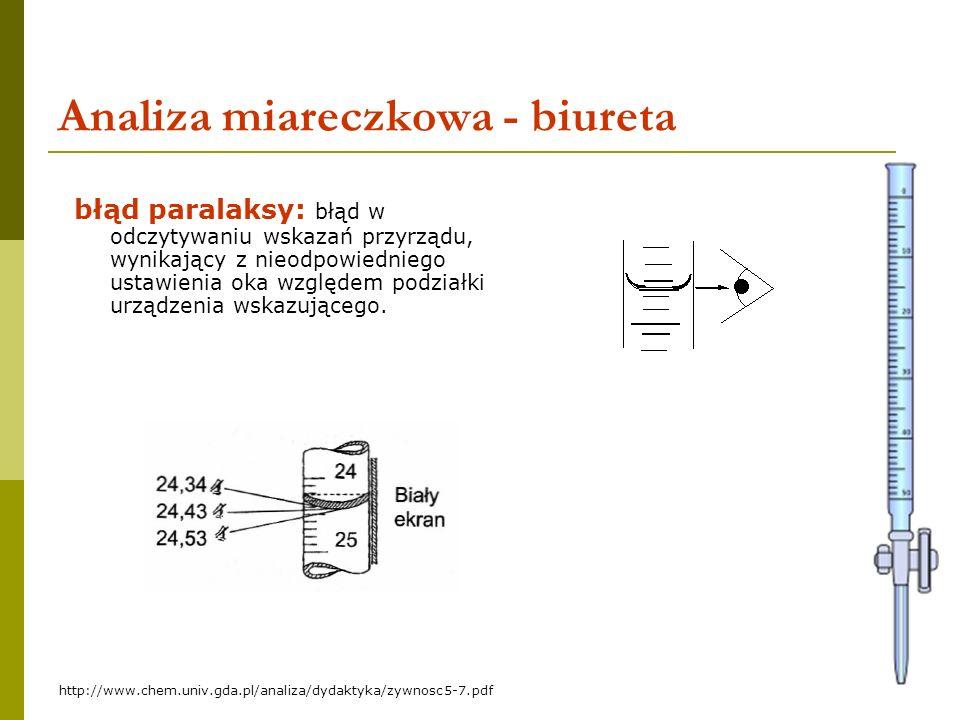 7 Analiza miareczkowa - biureta błąd paralaksy: błąd w odczytywaniu wskazań przyrządu, wynikający z nieodpowiedniego ustawienia oka względem podziałki