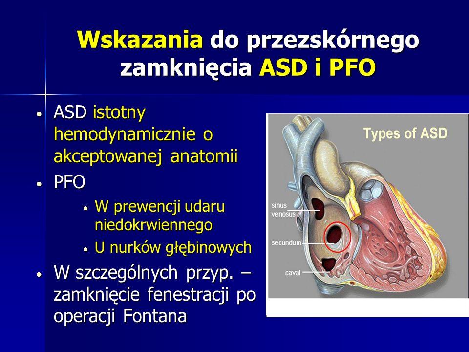 Wskazania do przezskórnego zamknięcia ASD i PFO ASD istotny hemodynamicznie o akceptowanej anatomii ASD istotny hemodynamicznie o akceptowanej anatomi