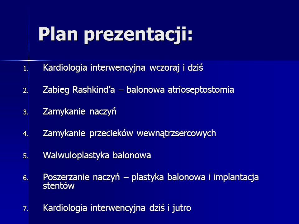 Plan prezentacji: 1. Kardiologia interwencyjna wczoraj i dziś 2. Zabieg Rashkinda – balonowa atrioseptostomia 3. Zamykanie naczyń 4. Zamykanie przecie