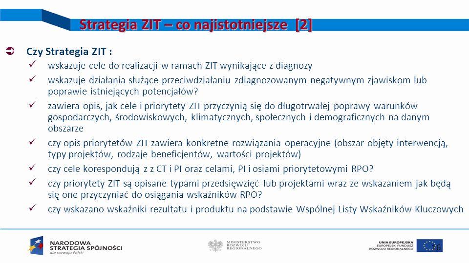 16 Strategia ZIT – co najistotniejsze [2] Czy Strategia ZIT : wskazuje cele do realizacji w ramach ZIT wynikające z diagnozy wskazuje działania służąc