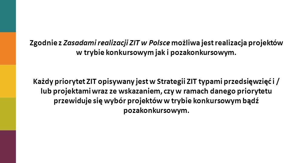 Zgodnie z Zasadami realizacji ZIT w Polsce możliwa jest realizacja projektów w trybie konkursowym jak i pozakonkursowym. Każdy priorytet ZIT opisywany