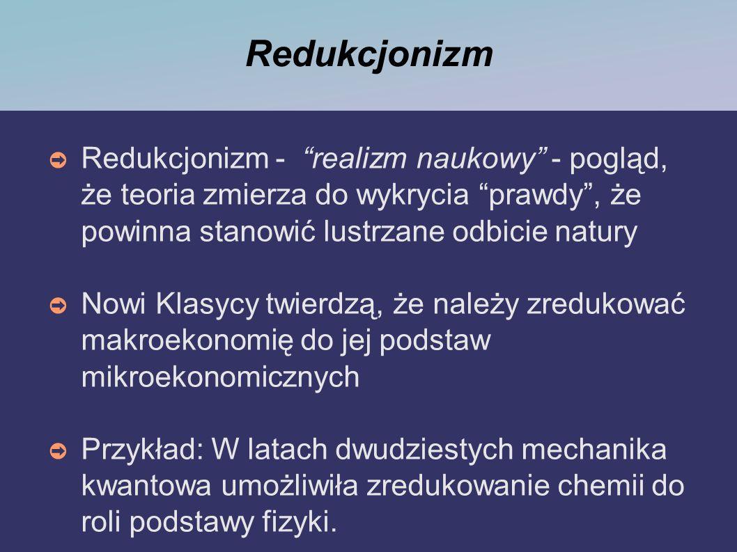 Redukcjonizm Redukcjonizm - realizm naukowy - pogląd, że teoria zmierza do wykrycia prawdy, że powinna stanowić lustrzane odbicie natury Nowi Klasycy