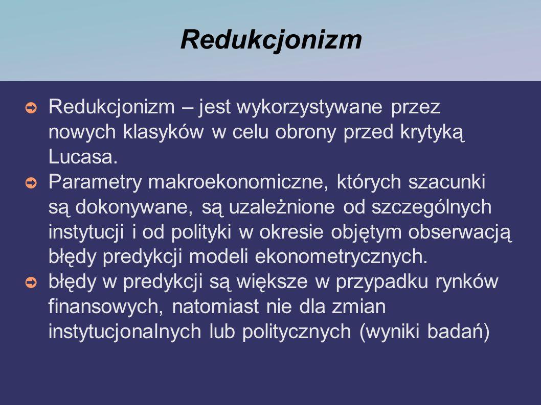 Redukcjonizm Redukcjonizm – jest wykorzystywane przez nowych klasyków w celu obrony przed krytyką Lucasa. Parametry makroekonomiczne, których szacunki