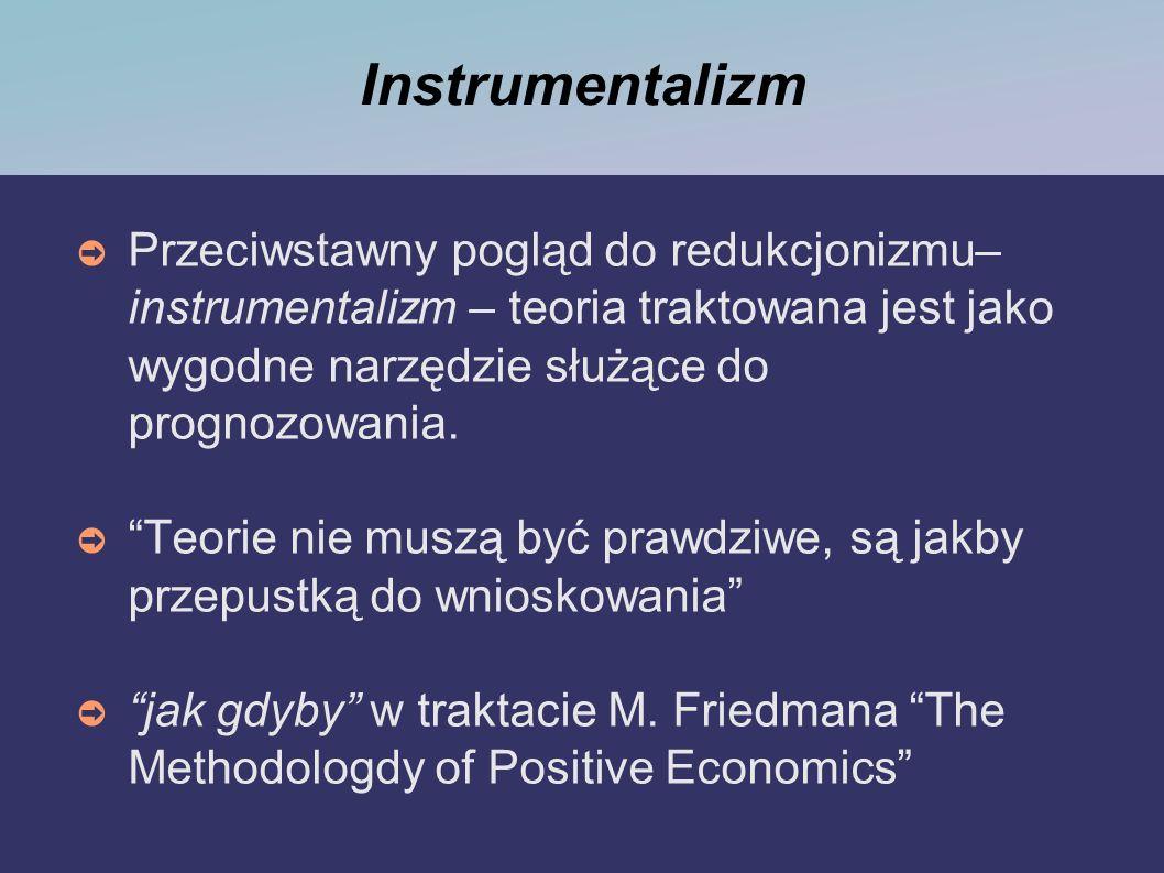 Instrumentalizm Przeciwstawny pogląd do redukcjonizmu– instrumentalizm – teoria traktowana jest jako wygodne narzędzie służące do prognozowania. Teori