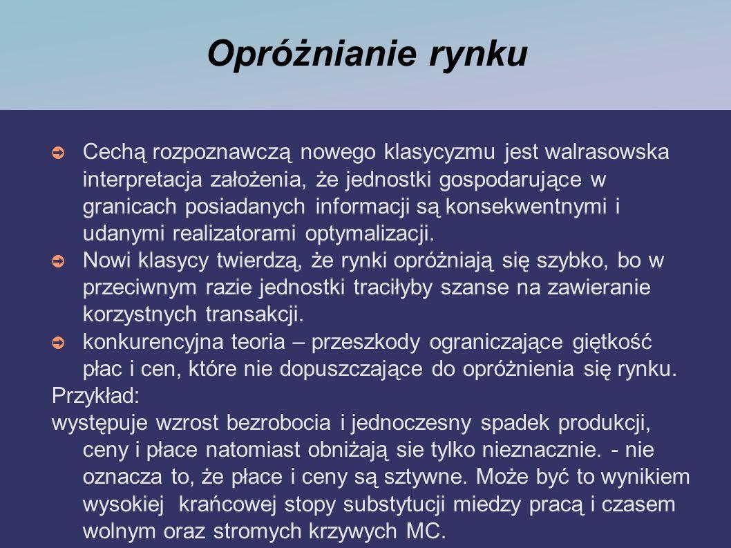 Opróżnianie rynku Cechą rozpoznawczą nowego klasycyzmu jest walrasowska interpretacja założenia, że jednostki gospodarujące w granicach posiadanych in