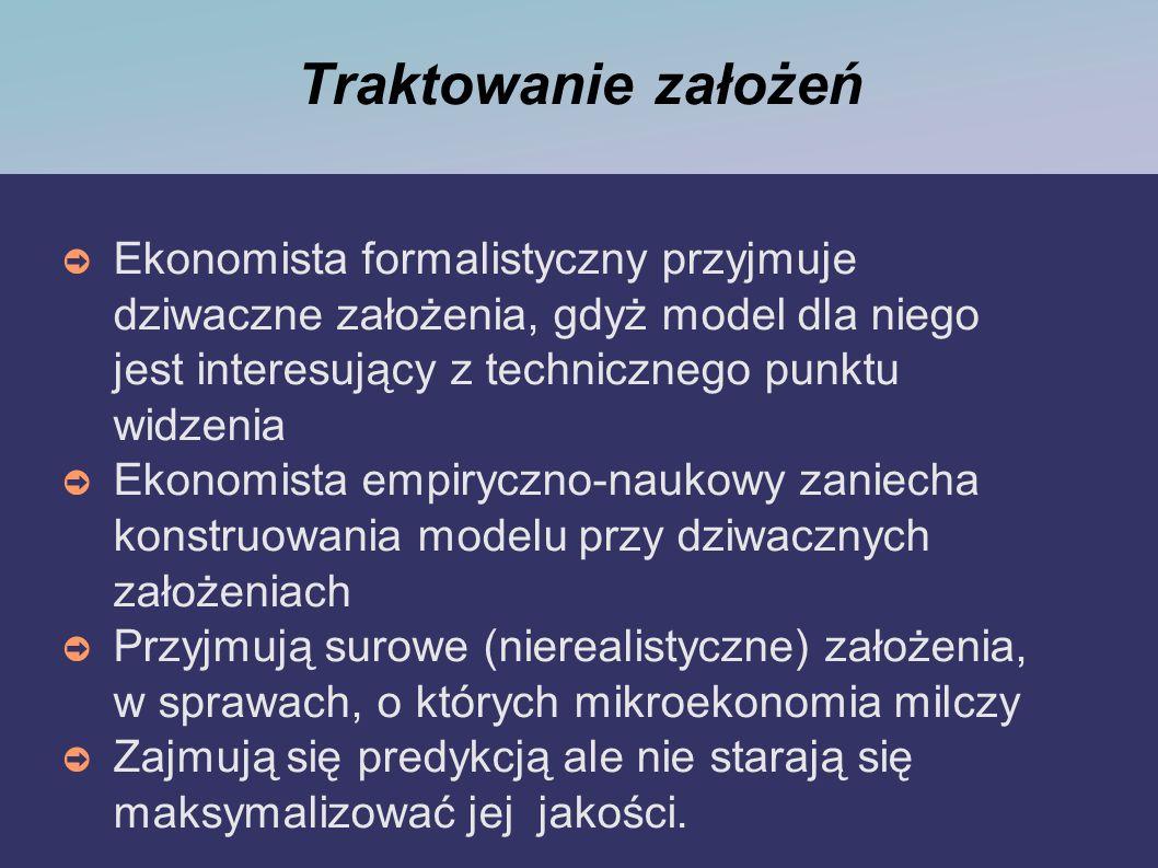 Różnice między tradycjonalistami a nowymi klasykami TRADYCJONALIŚCI (keynesiści i monetaryści) unikają opowiadania rzeczy wyraźnie nie do pogodzenia z tym co jest do zaobserwowania w procesie gospodarczym model musi spełniać funkcję predykcyjną, ale wybierają model najlepiej spełniający wymagania istnieje dużo wersji mikroteorii, z których wynikają różne implikacje założenia uzasadniają za pomocą argumentu instrumentalistycznego NOWI KLASYCY budują modele uwzględniając wszystkie czynniki kładą nacisk na formalną matematyczną technikę znaczenie decydujące ma rygorystyczna dedukcja każde założenie różniące się od implikacji modelu maksymalizacij użyteczności jest nie do przyjęcia zarzucają tradycjonalistycznej ekonomii charakter ad hoc chcą zredukować makroekonomię do mikroekonomii