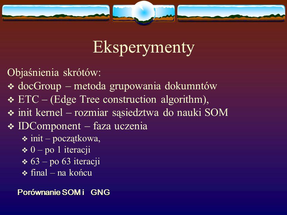 Eksperymenty Objaśnienia skrótów: docGroup – metoda grupowania dokumntów ETC – (Edge Tree construction algorithm), init kernel – rozmiar sąsiedztwa do nauki SOM IDComponent – faza uczenia init – początkowa, 0 – po 1 iteracji 63 – po 63 iteracji final – na końcu Porównanie SOM i GNG