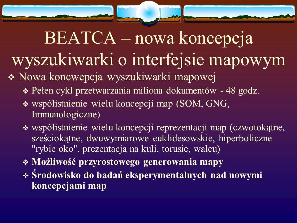 BEATCA – nowa koncepcja wyszukiwarki o interfejsie mapowym Nowa koncwepcja wyszukiwarki mapowej Pełen cykl przetwarzania miliona dokumentów - 48 godz.