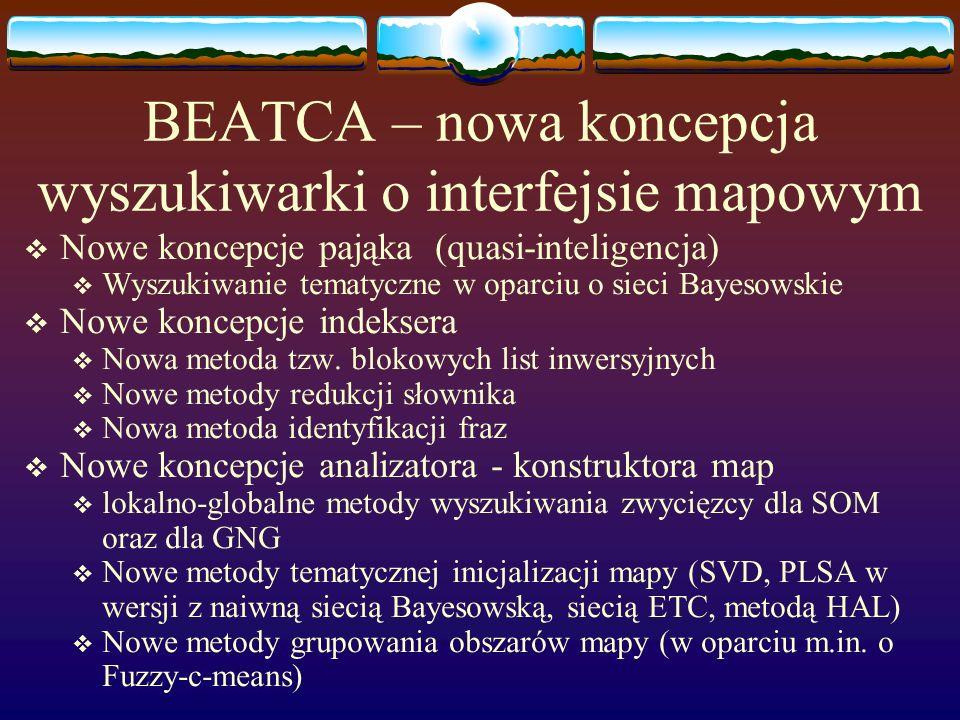 BEATCA – nowa koncepcja wyszukiwarki o interfejsie mapowym Nowe koncepcje pająka (quasi-inteligencja) Wyszukiwanie tematyczne w oparciu o sieci Bayesowskie Nowe koncepcje indeksera Nowa metoda tzw.
