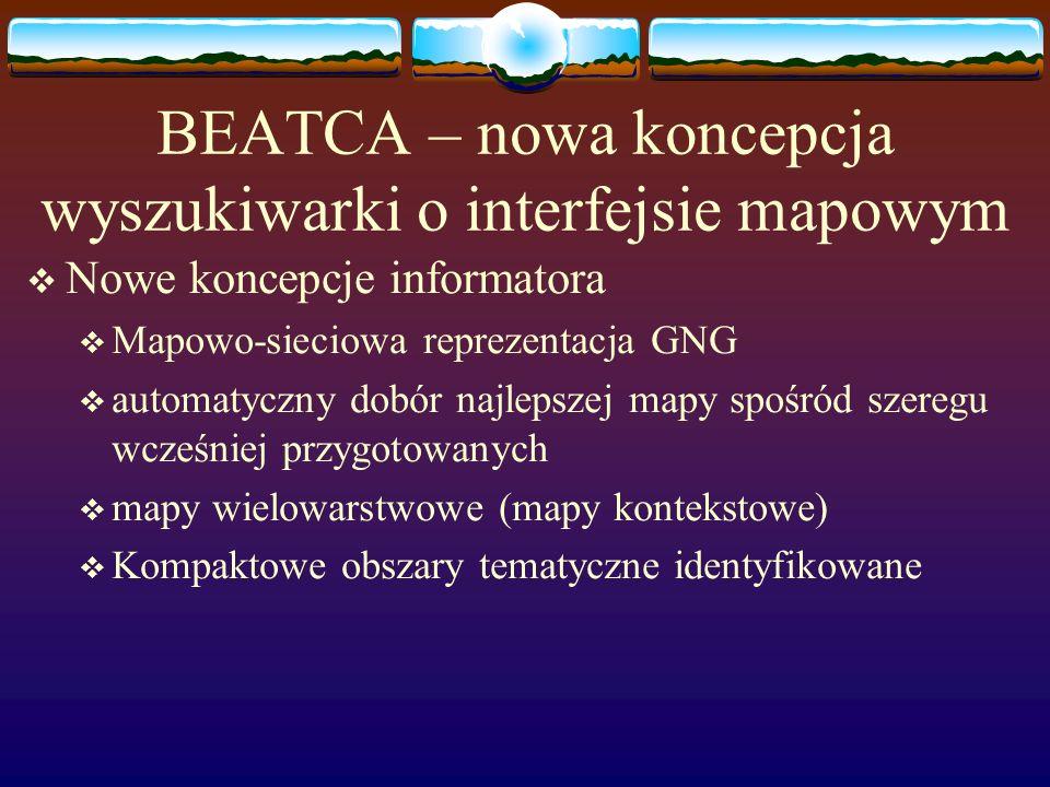 BEATCA – nowa koncepcja wyszukiwarki o interfejsie mapowym Nowe koncepcje informatora Mapowo-sieciowa reprezentacja GNG automatyczny dobór najlepszej mapy spośród szeregu wcześniej przygotowanych mapy wielowarstwowe (mapy kontekstowe) Kompaktowe obszary tematyczne identyfikowane