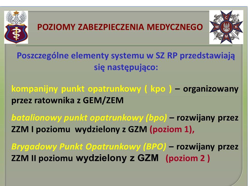 Poszczególne elementy systemu w SZ RP przedstawiają się następująco: kompanijny punkt opatrunkowy ( kpo ) – organizowany przez ratownika z GEM/ZEM bat
