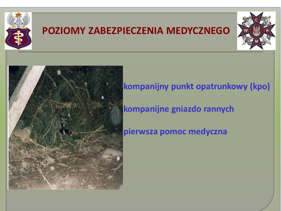 POZIOMY ZABEZPIECZENIA MEDYCZNEGO kompanijny punkt opatrunkowy (kpo) kompanijne gniazdo rannych pierwsza pomoc medyczna