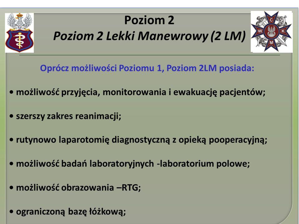 Poziom 2 Poziom 2 Lekki Manewrowy (2 LM) Oprócz możliwości Poziomu 1, Poziom 2LM posiada: możliwość przyjęcia, monitorowania i ewakuację pacjentów; sz