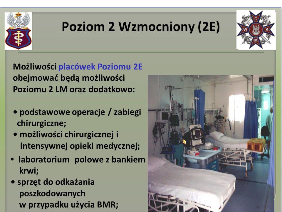 Poziom 2 Wzmocniony (2E) Możliwości placówek Poziomu 2E obejmować będą możliwości Poziomu 2 LM oraz dodatkowo: podstawowe operacje / zabiegi chirurgic