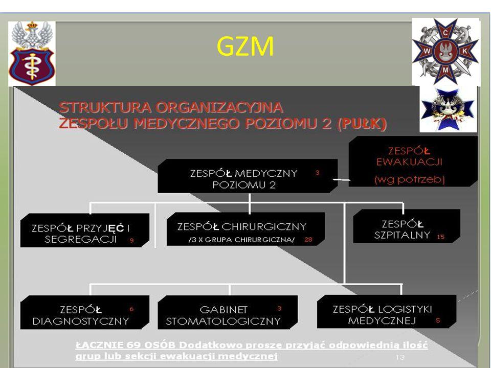 BZ/ BPanc bz/b cz kz/kcz Grupa Ewakuacji Medycznej: Ratownik Medyczny, Kierowca-Ratownik, Ratownik, Wóz Ewakuacji Medycznej.