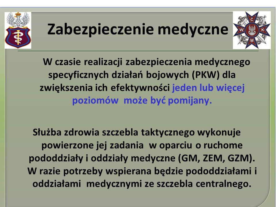 Zabezpieczenie medyczne W czasie realizacji zabezpieczenia medycznego specyficznych działań bojowych (PKW) dla zwiększenia ich efektywności jeden lub
