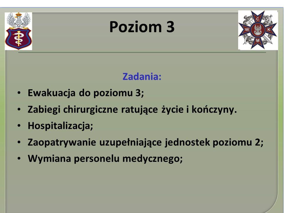 Poziom 3 Zadania: Ewakuacja do poziomu 3; Zabiegi chirurgiczne ratujące życie i kończyny. Hospitalizacja; Zaopatrywanie uzupełniające jednostek poziom
