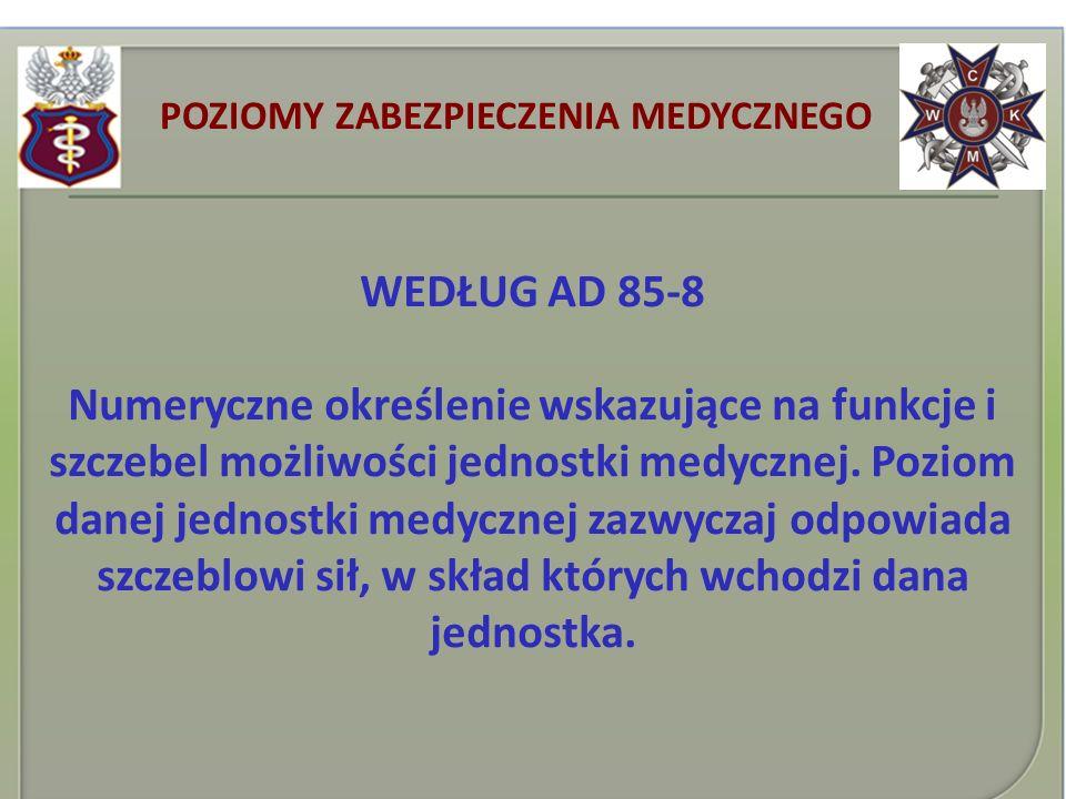 POZIOMY ZABEZPIECZENIA MEDYCZNEGO WEDŁUG AD 85-8 Numeryczne określenie wskazujące na funkcje i szczebel możliwości jednostki medycznej. Poziom danej j