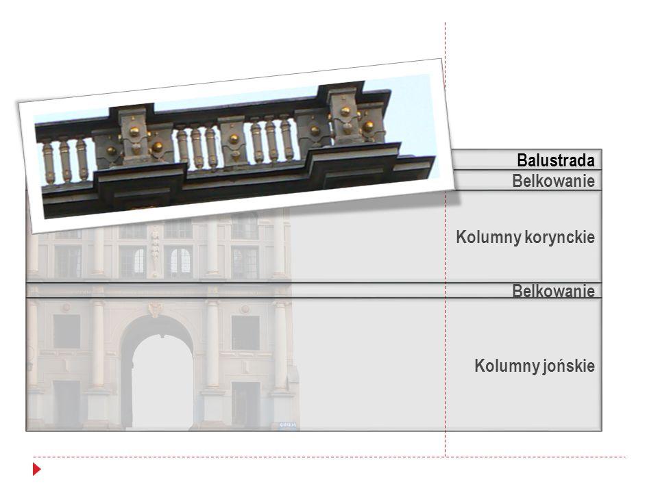Balustrada Belkowanie Kolumny korynckie Belkowanie Kolumny jońskie