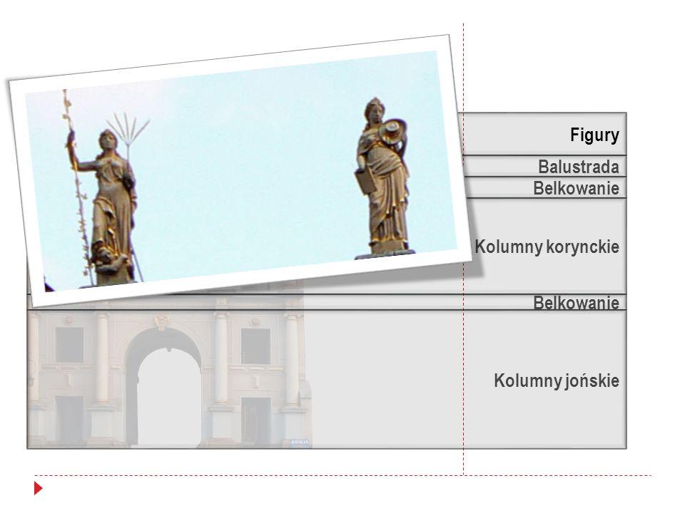 Figury Balustrada Belkowanie Kolumny korynckie Belkowanie Kolumny jońskie