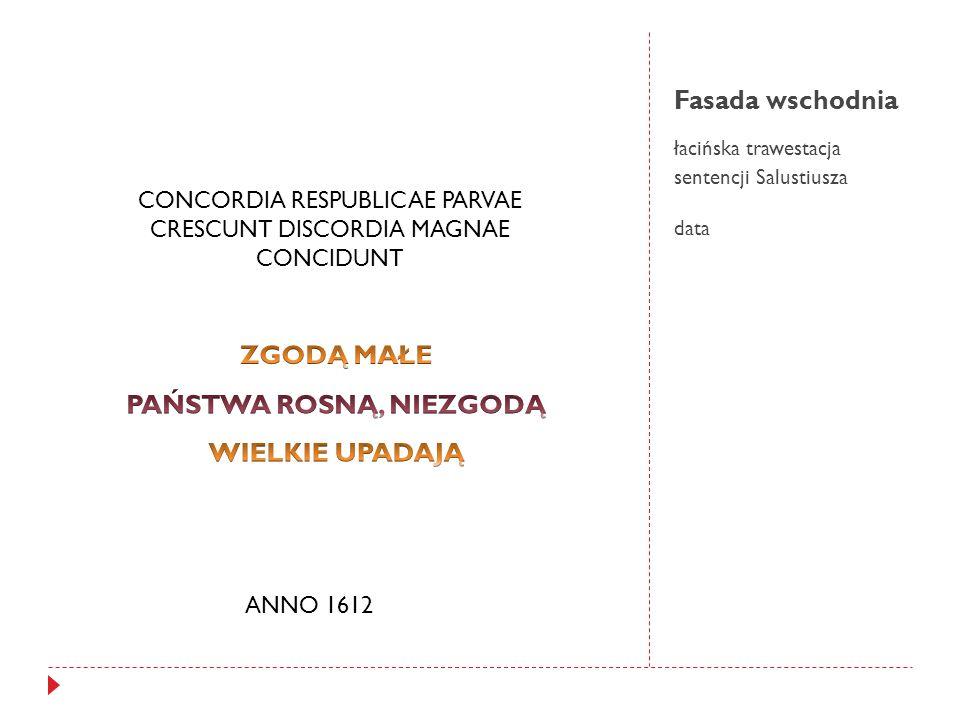Fasada wschodnia łacińska trawestacja sentencji Salustiusza data CONCORDIA RESPUBLICAE PARVAE CRESCUNT DISCORDIA MAGNAE CONCIDUNT ANNO 1612