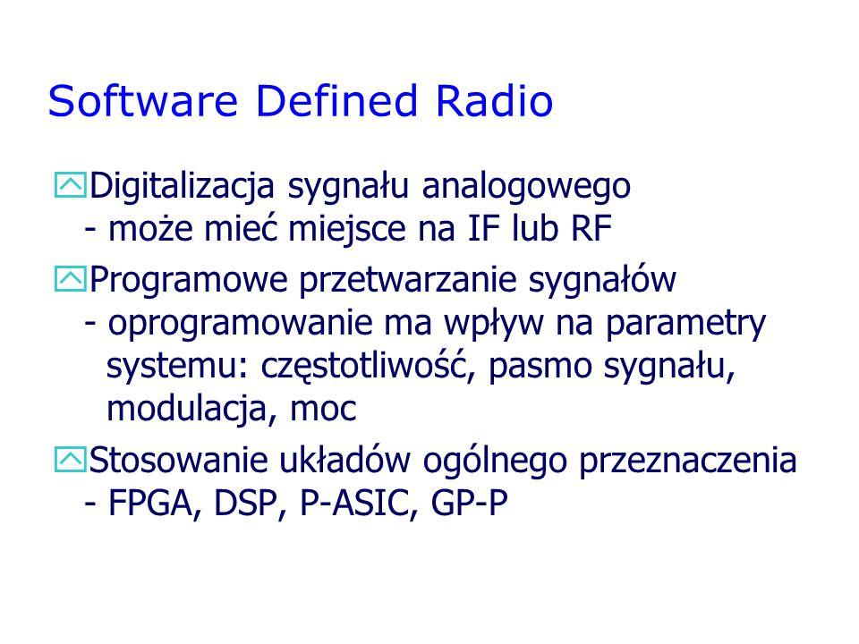 Software Defined Radio yDigitalizacja sygnału analogowego - może mieć miejsce na IF lub RF yProgramowe przetwarzanie sygnałów - oprogramowanie ma wpły