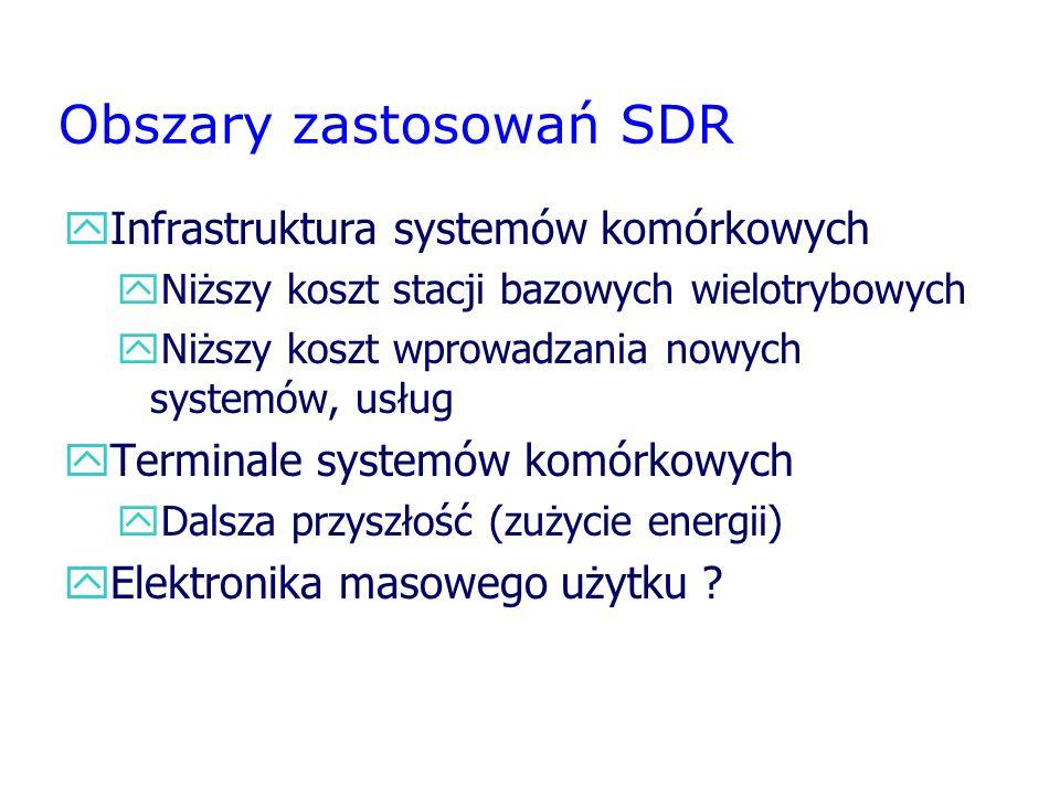 Obszary zastosowań SDR yInfrastruktura systemów komórkowych yNiższy koszt stacji bazowych wielotrybowych yNiższy koszt wprowadzania nowych systemów, u