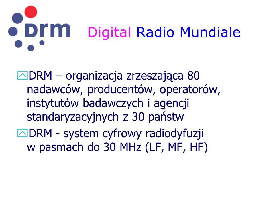 Digital Radio Mundiale yDRM – organizacja zrzeszająca 80 nadawców, producentów, operatorów, instytutów badawczych i agencji standaryzacyjnych z 30 pań