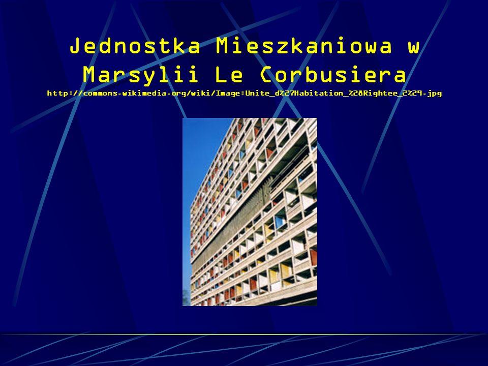 Jednostka Mieszkaniowa w Marsylii Le Corbusiera http://commons.wikimedia.org/wiki/Image:Unite_d%27Habitation_%28Rightee_2%29.jpg