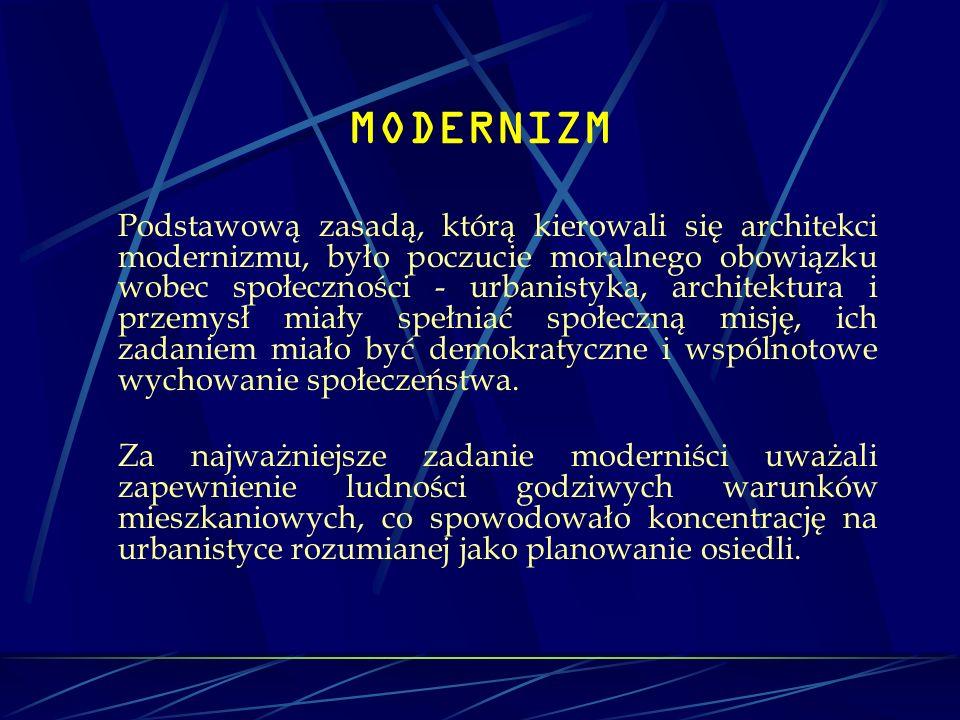 MODERNIZM Podstawową zasadą, którą kierowali się architekci modernizmu, było poczucie moralnego obowiązku wobec społeczności - urbanistyka, architektu