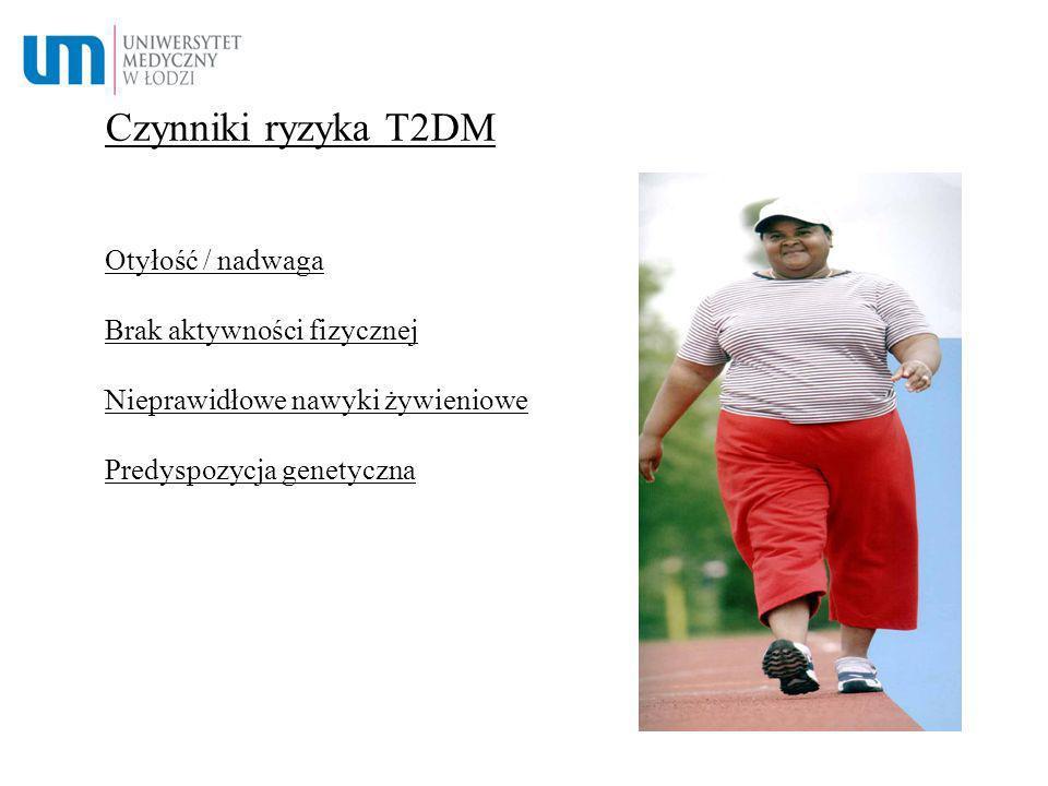 Czynniki ryzyka T2DM Otyłość / nadwaga Brak aktywności fizycznej Nieprawidłowe nawyki żywieniowe Predyspozycja genetyczna